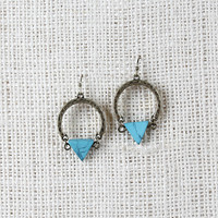 Textured Triangle Stone Earrings