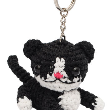 Cat Toy 2 Handmade Crochet Stuffed Keychains Keyrings VKC