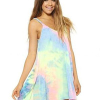 Tie-dye Summer A-Line Dress