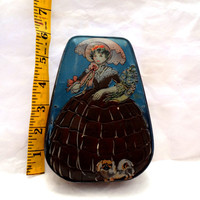 Vintage  Oval Tin Lady With Parasol With Pekinese Dog Distressed English Candy Tin 1940s George Horner & Co