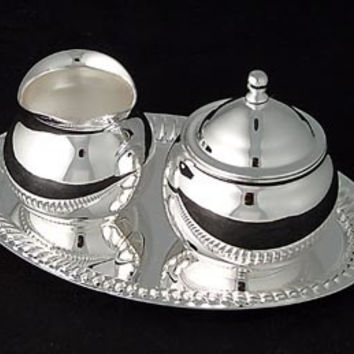 Mini Silver Plated Brass Sugar and Creamer Set