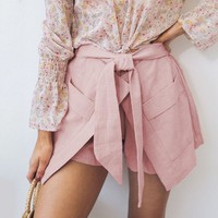 Bottoms Chic Casual Women Shorts Wrap High Fashion New Trend Girls Pocket Bow Shorts