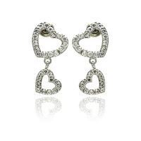 Sterling Silver Rhodium Plated Heart Dangling Earring