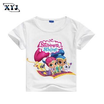 2017 Shimmer And Shine Costumes Childrens Girls Tees T shirt For Girls Summer T-shirt 5 Colors Shirts For Baby Casual Tops