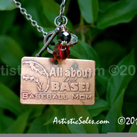 All About that Base Baseball  READY TO SHIP - Custom Metal Stamped Necklace