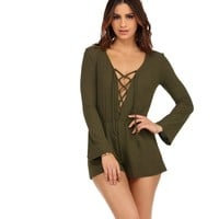Olive On The Move Lace Up Romper