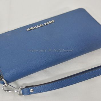 Michael Kors Jet Set Travel Continental Wallet in Steel Blue Saffiano Leather