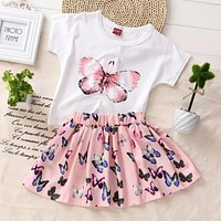 Summer 2PCS set Kids Baby Girls Toddler Butterfly Printed T-shirt and Skirt Dress Set Outfits Clothes