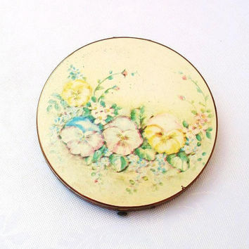 Vintage Compact  Large Cosmetic Compact  Round Vintage Mirror Makeup Compact  Floral Painted Metal Compact