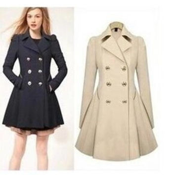 New Autumn Winter Women's Slim Thin Double-breasted Commuter Trench Coat Windbreaker Jacket Navy Blue Apricot S-XXL = 1956528772