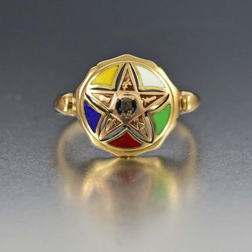 10K Yellow Gold Order of the Eastern Star Masonic Ring