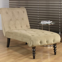 Avenue Six Coffee Fabric Tufted Top Curved Leg Chaise Lounge Chair CVS72-C27