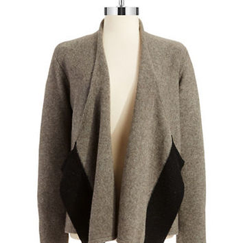 Eileen Fisher Wool Draped Front Cardigan