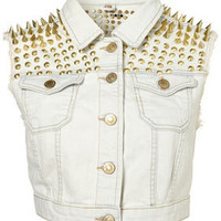 MOTO Premium Extreme Spike Sleeveless Jacket - Denim  - Apparel