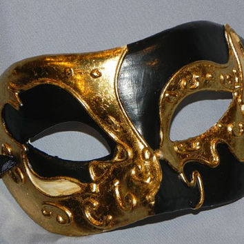 Black Gold and Ivory Men's Mask