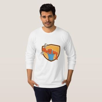Bulldog Mechanic Holding Spanner Shield Cartoon T-Shirt