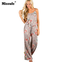 Missufe Lace Up Floral Print Women Jumpsuit 2017 Summer Casual Loose Style Wide Leg Girls Beach Bodysuit Female Overalls