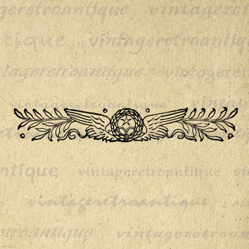 Digital Graphic Star and Wings Banner Image Printable Download Illustration Antique Clip Art for Transfers Printing etc HQ 300dpi No.2268