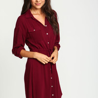 Burgundy Drawstring Woven Shirt Dress