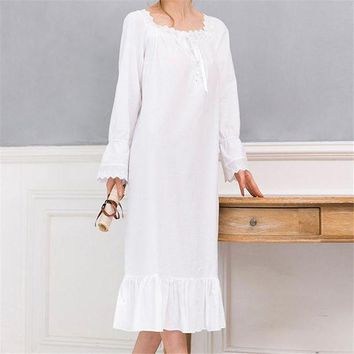 ICIKLW8 New Arrivals Vintage Nightgowns Sleepshirts Elegant Home Dress Lace Sleepwear Women Sleep & Lounge Soft Cotton Nightgown #H120
