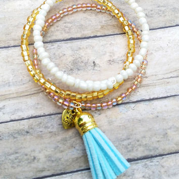 Mint Tassle Bracelet Set, Coil Bracelet, Stackable Set, Memory Wire Wrap, Alex and Ani Inspired, Custom Beaded Jewelry, Women's Jewelry