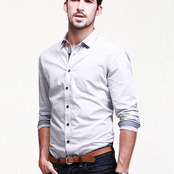 Plain Collar Button Long-Sleeve Shirt