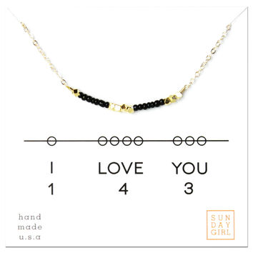 I Love You - Code Friendship Necklace - Black