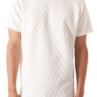 The Quilted Curved Hem Tee in White