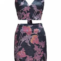 Floral Print Crop Top and Mini Skirt Matching Set