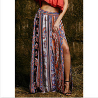 Womens Summer Style Bohemian Boho Floral Print Sexy Open Side Split Beach Party Work Clubwear Fitted Long Skirt