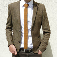 Skinny Knitted Tie in Golden Mustard Brown Lambswool by vKnit