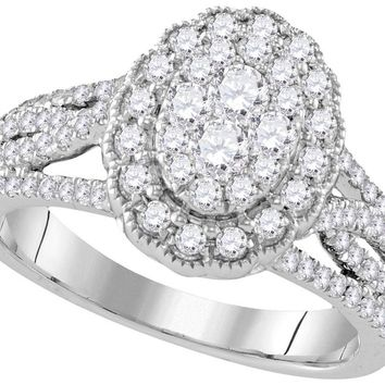 10kt White Gold Womens Round Diamond Oval Halo Cluster Bridal Wedding Engagement Ring 1.00 Cttw
