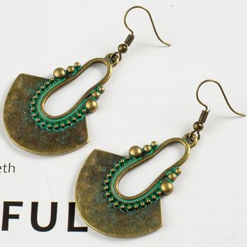Geometric earrings Vintage antique green red hanging earring statement jewelry Retro bohemian ethnic indian earrings for women