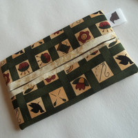 Green flowered Tissue holder case 100% cotton lined