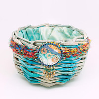 Colorful Round Handwoven Basket Beaded Medallion Blue Green Tan Stripes