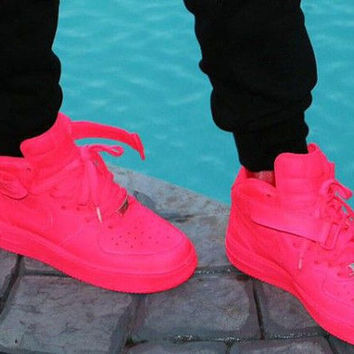 Custom neon Pink Nike Air force 1 Mid Top Trainers