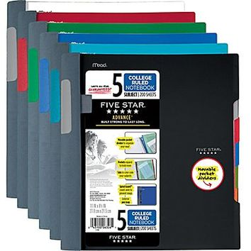 Mead Five Star Advance Wirebound Notebook, 5 Subject, College Ruled, 11 x 8 1/2 (06326) | Staples