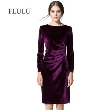FLULU Winter Dress Women Vintage Solid Long Sleeve Velvet O-Neck Pencil Dress Elegant Female Slim Party Dresses Vestidos