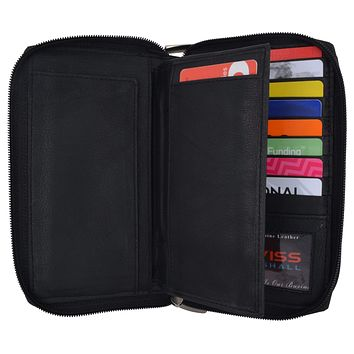 Womens Wallet Genuine Leather Double Zip Around Phone Clutch Large Travel Purse Ladies Wallet