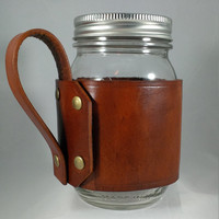 Leather Mason Jar, Leather Coozie, Camping Mug, Travel Mug, Mason Jar, Choose Leather Color, Choose Handle Style, Monogram