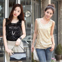 Lady Shining Vest Bling Sequin womens Tank Sleeveless T-Shirt Blouse Tops free shipping