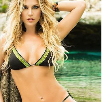 Mapale Green Neon Lace Trimmed Triangle Top and Side Tie Thong Bottom Bikini