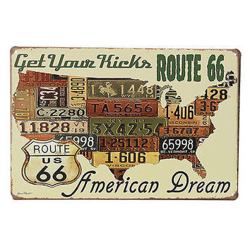Route66 Car Plates Vintage Metal Tin Sign Home Club Pub Bar Poster Wall Decor HA