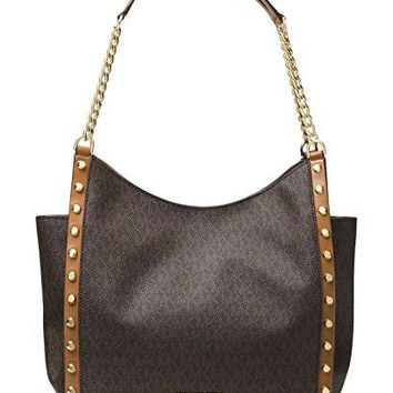 MICHAEL Michael Kors Newbury Medium Chain Shoulder Tote (Brown Stud)