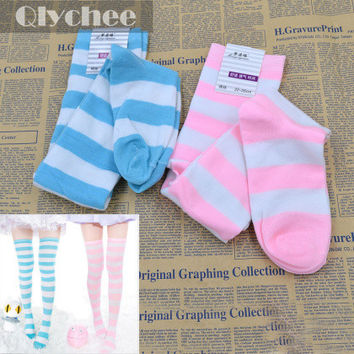 1 Pair Fashion Women's Cute Lolita Over-knee Wide Striped Cotton Stockings Miku Cosplay Tights Thigh High Girl Gift