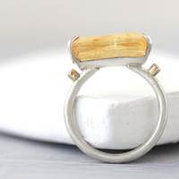 Genuine Imperial Topaz & Diamond Ring Bezel Set with 14K  Solid Yellow Gold and Prong set with Satin Finished Argentium Silver