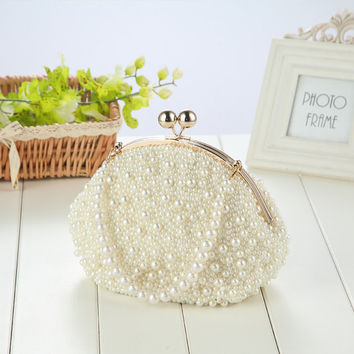 Bridal clutch, Peal wedding clutch, summer wedding,pearl evening purse,hand made