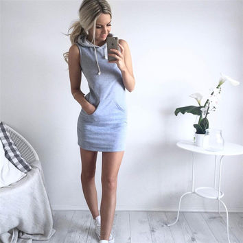 Hoody Sleeveless One Piece Dress a11121