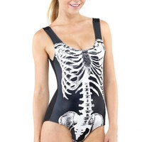 Black White Skeleton Bones Bodysuit |  MakeMeChic.com