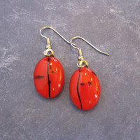 Red Earrings with Black Accents, Fused Glass Jewelry - Rose Statement - 2164 -3